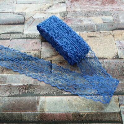 10 yards Pretty 40mm Blue embroidery lace ribbon lace Bilateral DIY accessories