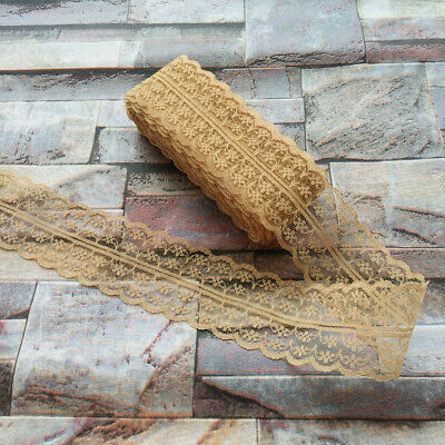 10 yards Pretty 40mm Brown embroidery lace ribbon lace Bilateral DIY accessories