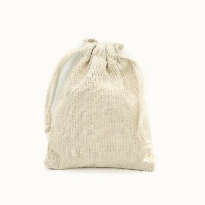 10 x Natural Beige Cotton 11cm x 9.5cm Canvas Drawstring Jewellery Gift Bags