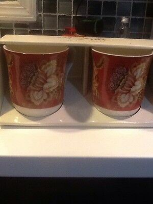 222Fifth Gabrielle Red New In Box 2 Coffee Mugs