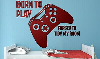 Gamer Wall Stickers Born 2 Play Game Xbox Art Decal Large Childrens Boys Bedroom