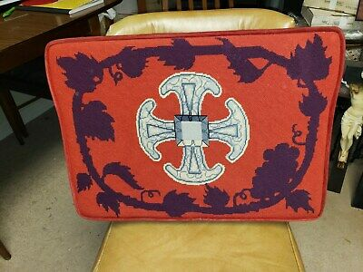 Antique Needlepoint Pillow Altar Kneeling Cushion Canterbury Cross Early 20Th C.