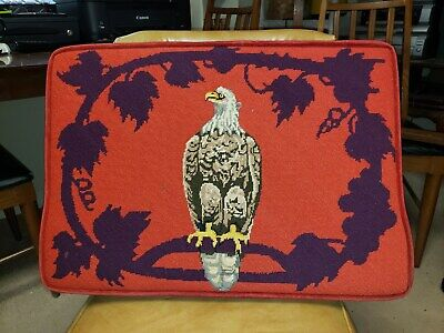 Antique Needlepoint Pillow Altar Kneeling Cushion Eagle Early 20Th Century