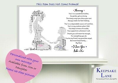 Personalised Mummy Poem Print Birthday Mothers Day Gifts From Son Daughter