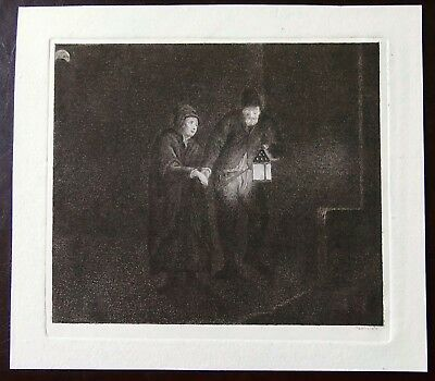 Martin Baes  etching The Night Watchman Conducting a Woman (Rembrandt)