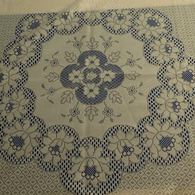 """Good Vintage Cream Polyester Lace Round Tablecloth - appr. 68"""" Diameter, Florals"""