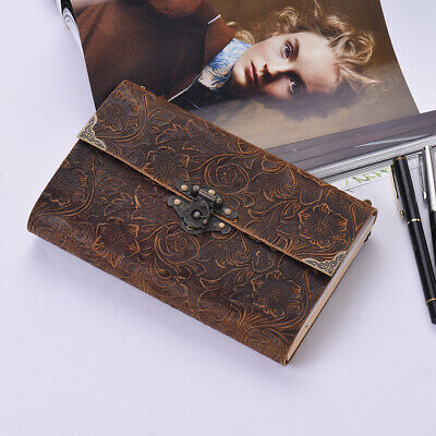Vintage Notebook Travel Leather Paper Journal Book Diary Lock Sketchbook C1L1
