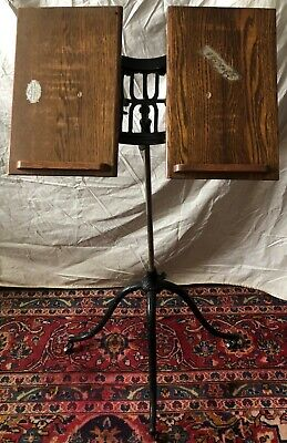 Antique Victorian Columbia Dictionary Book Music Stand- Oak Wood & Cast Iron
