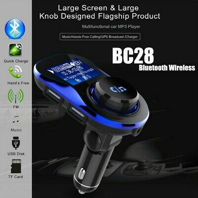 BC28 Car Kit Handsfree Wireless BT FM Transmitter LCD MP3 Player USB Charger AU