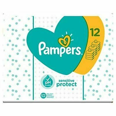 Pampers Sensitive Baby Wipe Sheets 12X56 PH Balanced Pack of 672 Wipes,New Multi