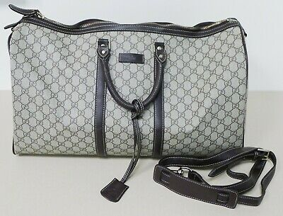 fb53bd5cdd4b99 Auth GUCCI GG Large Canvas/Leather Carry-On Duffel Shoulder Bag w/Strap