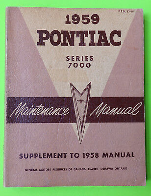 1959 Pontiac series 7000 GM Maintenance Shop Manual OEM CDN Edition