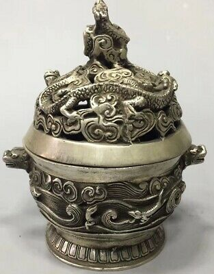 Collectable Handwork Old Miao Silver Carve Exorcism Dragon Lucky Incense Burner