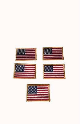 AMERICAN FLAG EMBROIDERED PATCH LOT OF 5 iron-on GOLD BORDER USA United States
