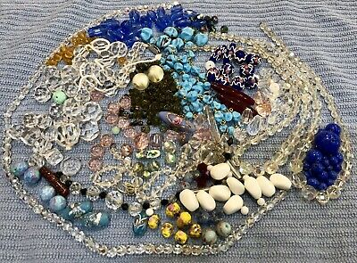 Huge Lot Of Antique Vintage Glass Beads Great For Jewellery & Craft.