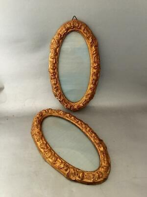VTG SET 2 ITALIAN FLORENTINE GOLD GILT TOLE WOOD OVAL PICTURE FRAME PAIR w GLASS