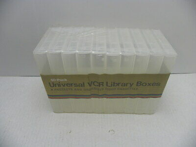 NEW 10 Pack Universal VHS or Beta Library Storage Boxes