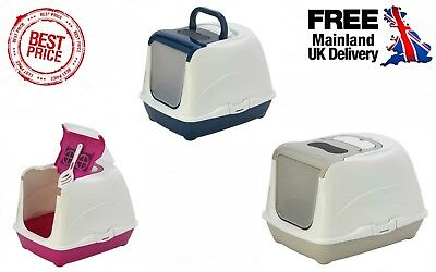 Cat Flip Litter Tray 3 Colours Box Hooded Pan Toilet Loo Carbon Filter Scoop