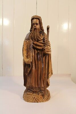 Antique Or Vintage Wood Hand Carved Religious Character  Figural Cane Jesus Magi