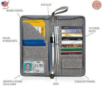 TRAVEL WALLET, FAMILY Passport Holder Documents Organizer Case, Zipper Purse