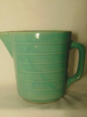Primitive Stoneware Teal Blue/ Green  Ribbed Usa Pottery Pitcher Usa