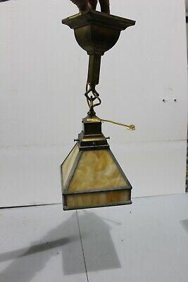 Antique Arts & Crafts Mission Hanging Pendant Light Fixture Slag Glass Porch
