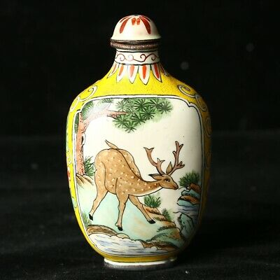 Chinese Exquisite   Porcelain Hand-Painted Deer &pine tree Snuff Bottle
