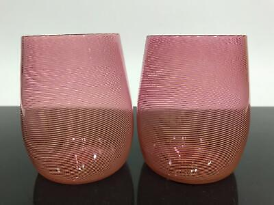 2pc Signed Murano Red Stripe Studio Art Glass Drinking Water Wine Cups