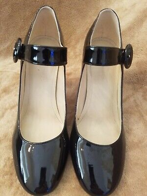 f43b3358bf4 Marc Fisher Black Patent Leather Mary Jane Pumps Heels Womens Size 7.5 M