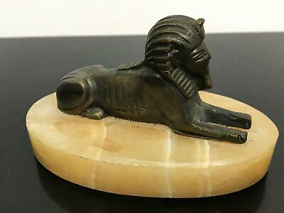 Antique Art Deco Bronze Egyptian Revival Marble Sphinx Paperweight Figurine