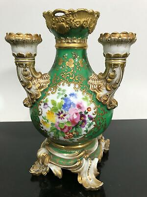 """Antique French Green & Gold Painted Floral Porcelain Vase 9"""" Statue"""