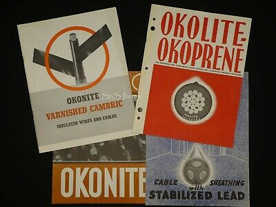 4 x Vintage Product Catalogs Okonite Okolite Cables Wire Electrical c 1950s
