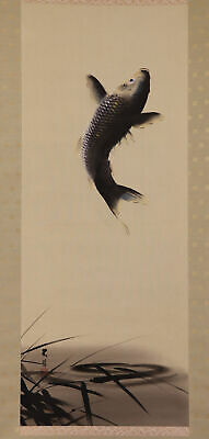 """JAPANESE HANGING SCROLL ART Painting """"Jumping Carp"""" Asian antique  #E6531"""