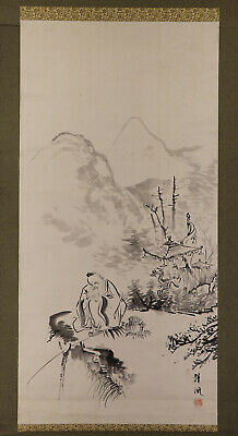 "JAPANESE HANGING SCROLL ART Painting ""Chinese wiseman"" Asian antique  #E6525"