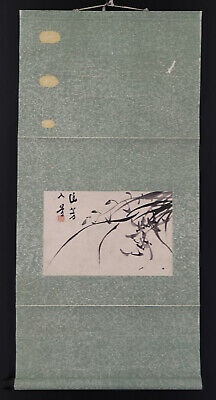 "JAPANESE HANGING SCROLL ART Painting ""Orchid"" Asian antique  #E6545"