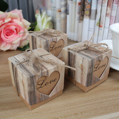 100x Vintage Sweet Candy Box Love Heart Gift Boxes Rustic Wedding Party Favor