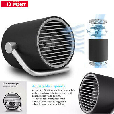 USB Mini Fans Ultra Quiet Portable Rotatable Desk Touch Control Cooling Summer