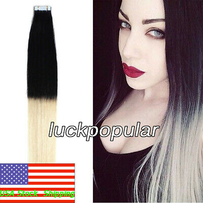 Seamless Tape in Indian Remy Human Hair Extensions Ombre Black to Blonde 20inch