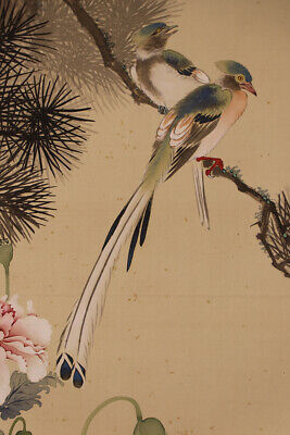 "JAPANESE HANGING SCROLL ART Painting ""Bird and Flower"" Asian antique  #E6212"