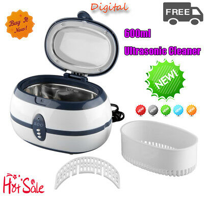 Ultrasonic Cleaner Jewellery Watch Glasses Sonic Wave Timer Cleaning Tank 600ML