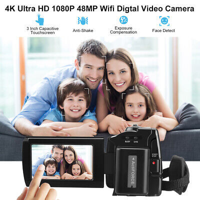 4K Videocamera Handycam, IR LED, 16xZOOM,WIFI Hotspot,2500mAh,Touch Screen NUOVO