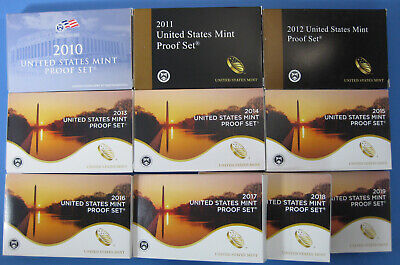 2010 thru 2018 2019 Run of 10 Government Issued Proof Sets with Boxes and COAs