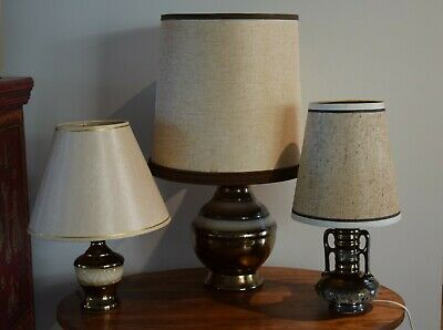 3 vintage brown bronze ceramic table lamps with shades Mid Century 1960s or 70s