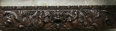 17th Century Carved Oak winged cherubs and green man Devil Panel FRIEZE