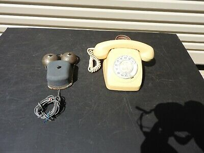 Vintage Original 1960's, 70's Cream Rotary Dial Phone with External bell