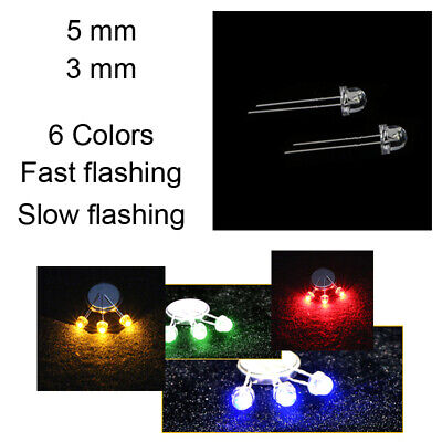 50-1000X 3/5mm LED Diodes 6 Colors Red/Green/White RGB Flashing Lamp Kit for DIY