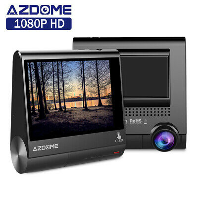 "AZDOME FHD 1080P Car DVR Dash Cam Dual Lens Video Recorder Camera 3"" OLED Screen"
