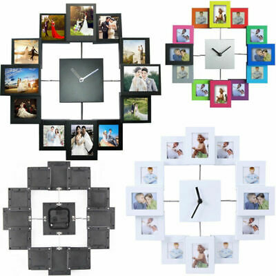 Black Hanging Modern 12 Multi Photo Family Picture Frame & Time Wall Clock New