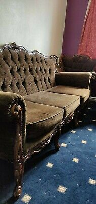 Beautiful French Rococo Baroque antique  Carved Wood 3 Seat Sofa Settee set