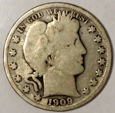 1909-S Barber Half Dollar, 18wtl0805 90% Silver 50 Cents Shipping